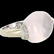 6 Point Star Rose Quartz Diamond East West Cocktail Ring Vintage 18 Karat White Gold