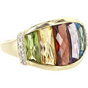 Rainbow Gemstone Diamond Cocktail Ring 10 Karat Gold Vintage Fine Estate Jewelry Pre Owned
