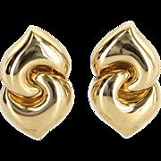 Bulgari Doppio Cuore Earrings Vintage 18 Karat Yellow Gold Estate Fine Jewelry Signed