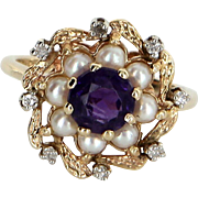 Amethyst Diamond Cultured Pearl Ring Vintage Cocktail 14 Karat Gold Estate Jewelry