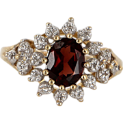 Vintage 10 Karat Yellow Gold Diamond Garnet Princess Cocktail Ring Estate Jewelry