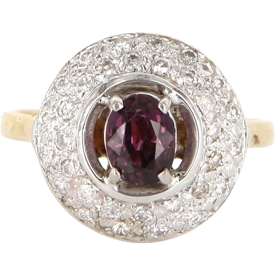 Vintage 14 Karat Yellow Gold Diamond Ruby Halo Cocktail Ring Fine Estate Jewelry