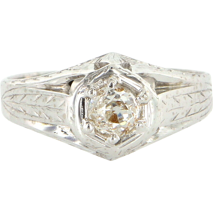 Art Deco 18 Karat White Gold Diamond Engagement Right Hand Ring From Preciousandrarepieces On