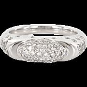 Vintage 14 Karat White Gold Diamond Pave Dome Cocktail Ring Fine Estate Jewelry