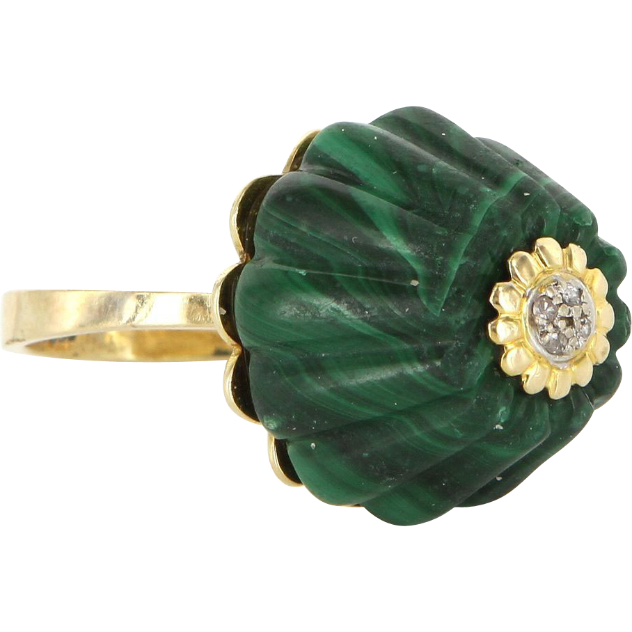 Vintage 14 Karat Yellow Gold Malachite Diamond Fluted Cocktail Ring Estate Jewelry