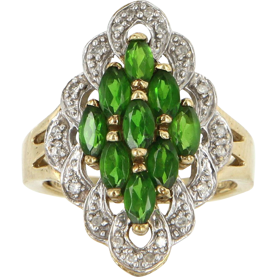 Estate 10 Karat Yellow Gold Diamond Tsavorite Garnet Cocktail Ring Vintage Jewelry