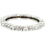 Vintage 18 Karat White Gold Diamond Eternity Stack Band Ring Fine Estate Sz 6.25