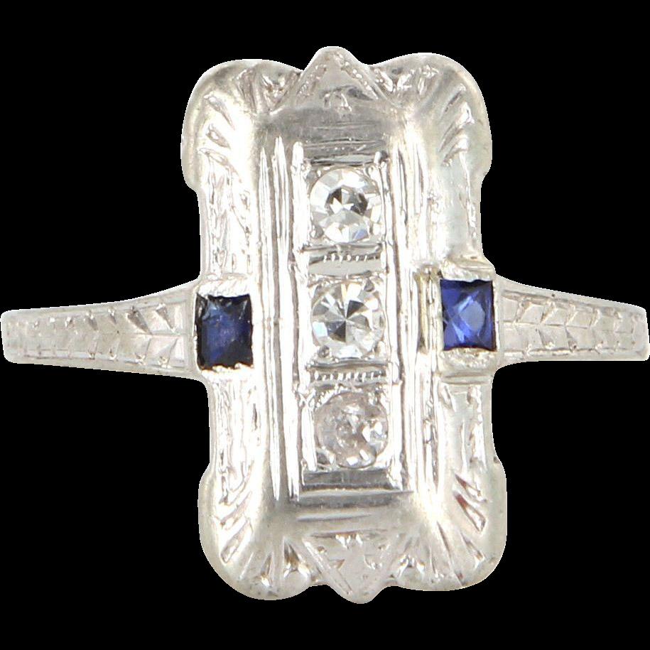 Art Deco 18 Karat White Gold Diamond Sapphire Cocktail Ring Vintage Estate Jewelry