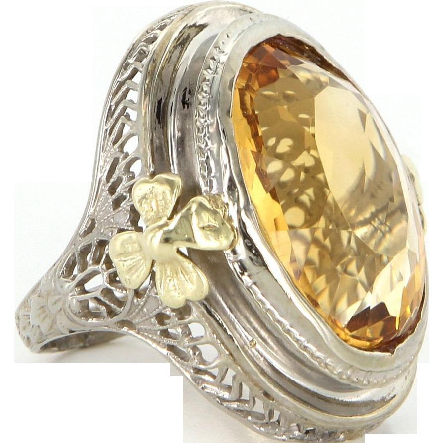 Art Deco 10 Karat White Gold Citrine Cocktail Pinky Ring Vintage Estate Jewelry