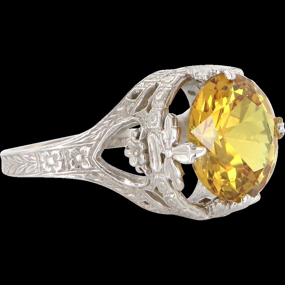Vintage 14 Karat White Gold Golden Topaz Filigree Cocktail Ring Estate Jewelry