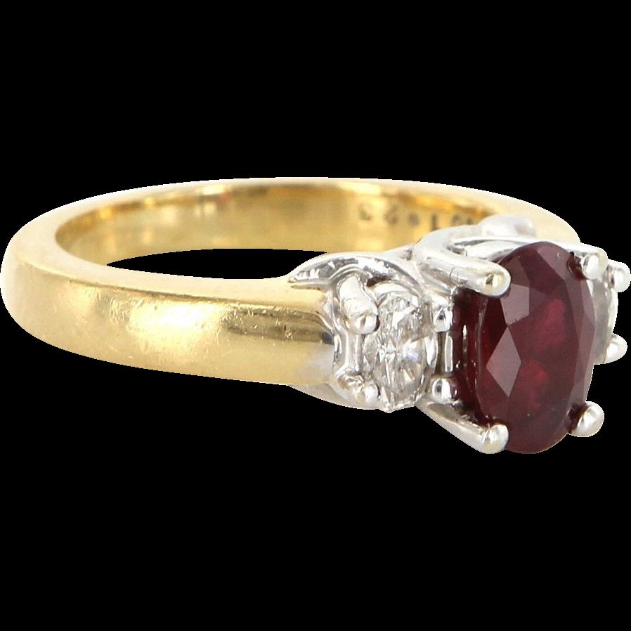 Vintage 18 Karat Yellow Gold Diamond Natural Ruby Three Stone Trilogy Ring Estate Jewelry