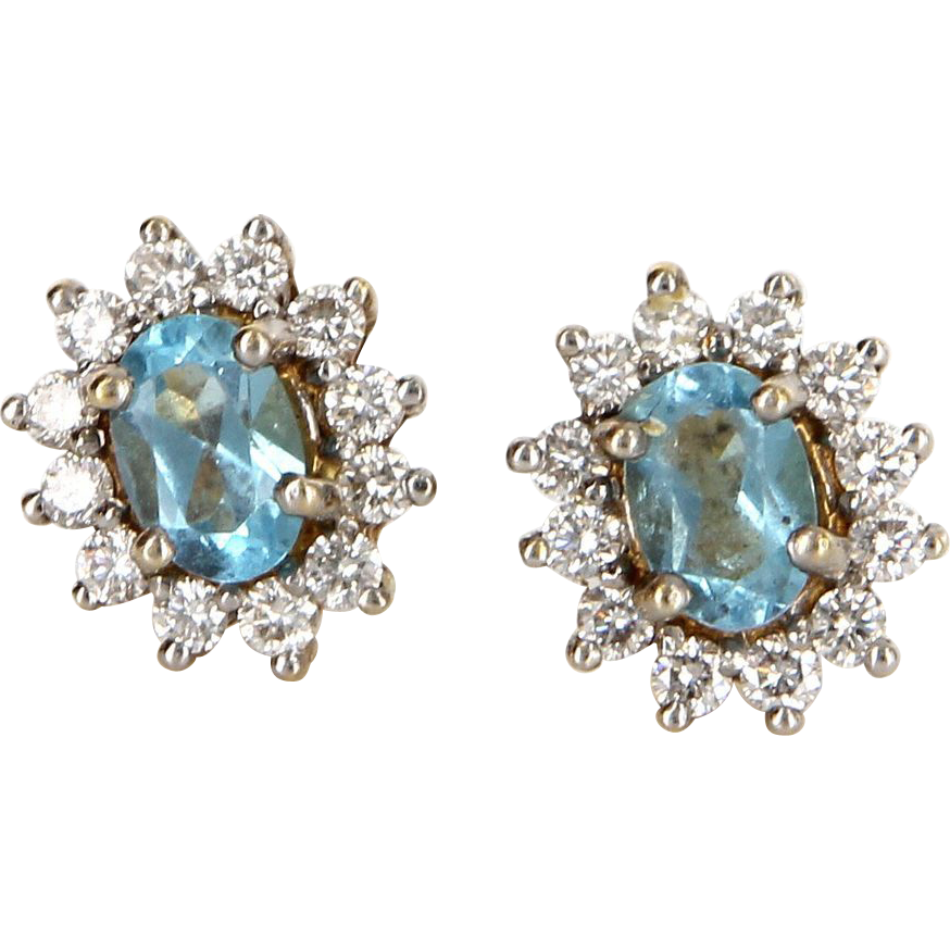 Vintage 18 Karat Yellow Gold Diamond Topaz Princess Stud Earrings Estate Jewelry