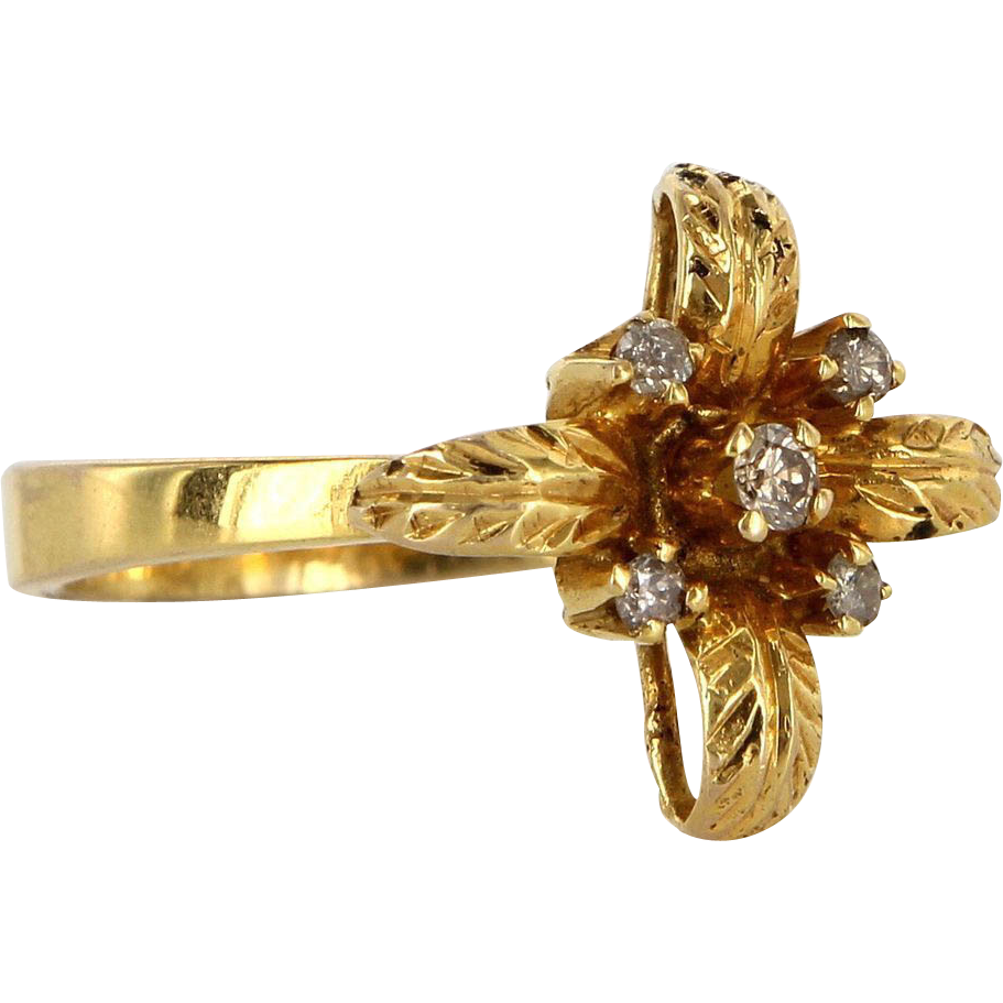 Vintage 14 Karat Yellow Gold Diamond Flower Leaf Cocktail Ring Estate Jewelry