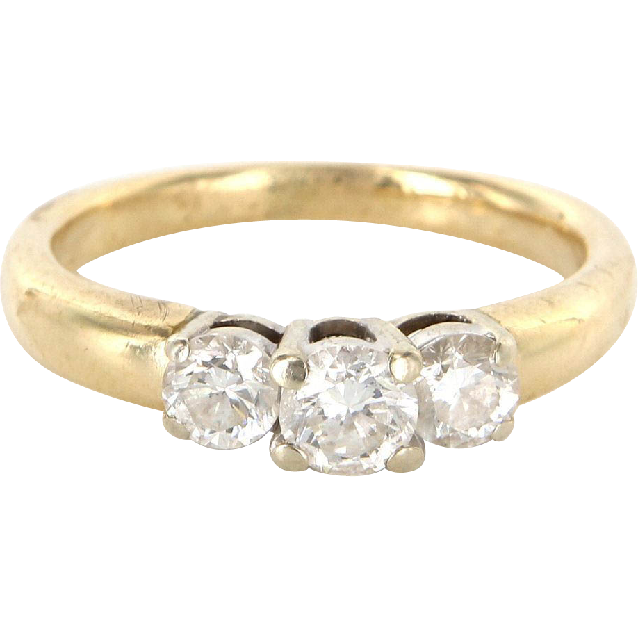 Vintage 14k Gold Diamond Three Stone Trilogy Anniversary Ring Estate Jewelry