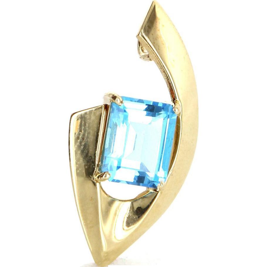 Vintage 14 Karat Yellow Gold Blue Topaz Cocktail Pendant Fine Estate Jewelry