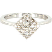 Vintage 14k White Gold Pave Diamond Triangle Pinky Cocktail Ring Estate Jewelry
