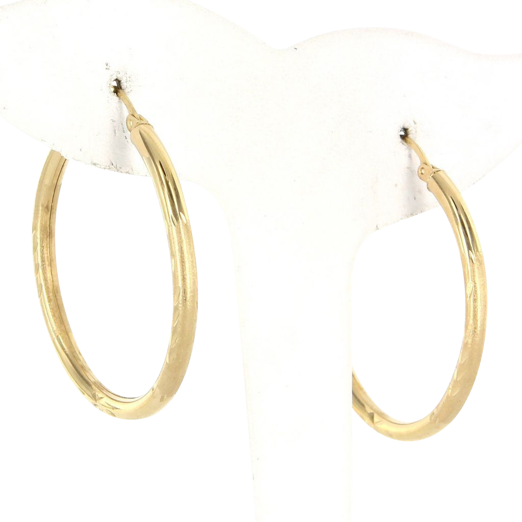 Vintage 14 Karat Yellow Gold Medium Foliate Hoop Earrings Fine Estate Jewelry
