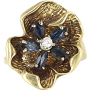 Vintage 14 Karat Yellow Gold Sapphire Diamond Flower Cocktail Ring Estate Jewelry