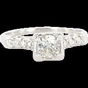 Art Deco 14 Karat White Gold Diamond Engagement Ring Fine Estate Bridal Jewelry