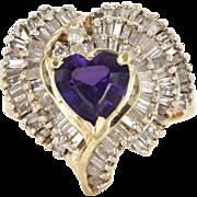 Vintage 14 Karat Yellow Gold Amethyst Diamond Heart Love Cocktail Ring Estate Jewelry