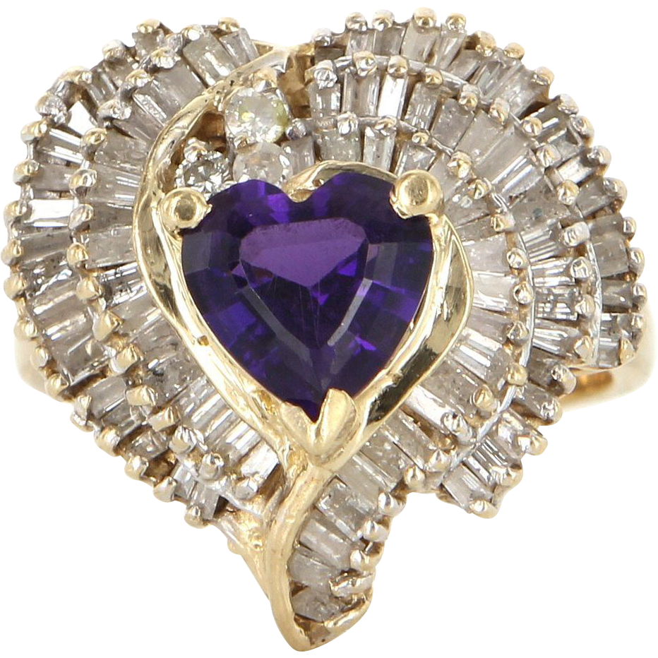 Vintage 14 Karat Yellow Gold Amethyst Diamond Heart Love Cocktail Ring Estate Jewelry