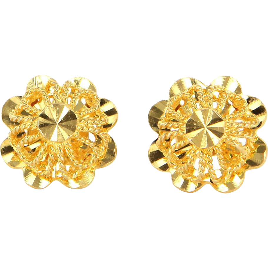 Vintage 18 Karat Yellow Gold Filigree Stud Earrings Fine Estate Jewelry