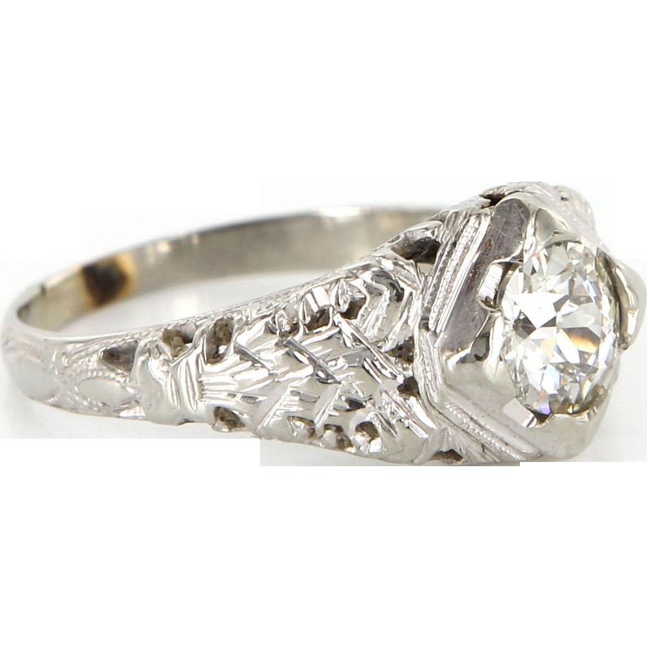 Art Deco 18 Karat White Gold Diamond Filigree Engagement Ring Fine Estate Vintage Jewelry