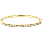 Vintage 14 Karat Yellow Gold Diamond Bangle Bracelet Fine Estate Jewelry