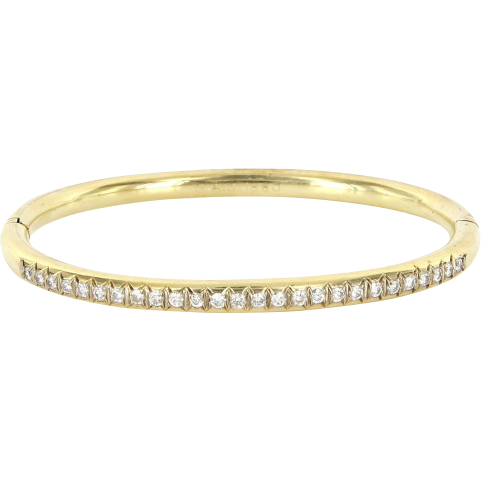 Vintage 14 Karat Yellow Gold Diamond Bangle Bracelet Fine Estate Jewelry