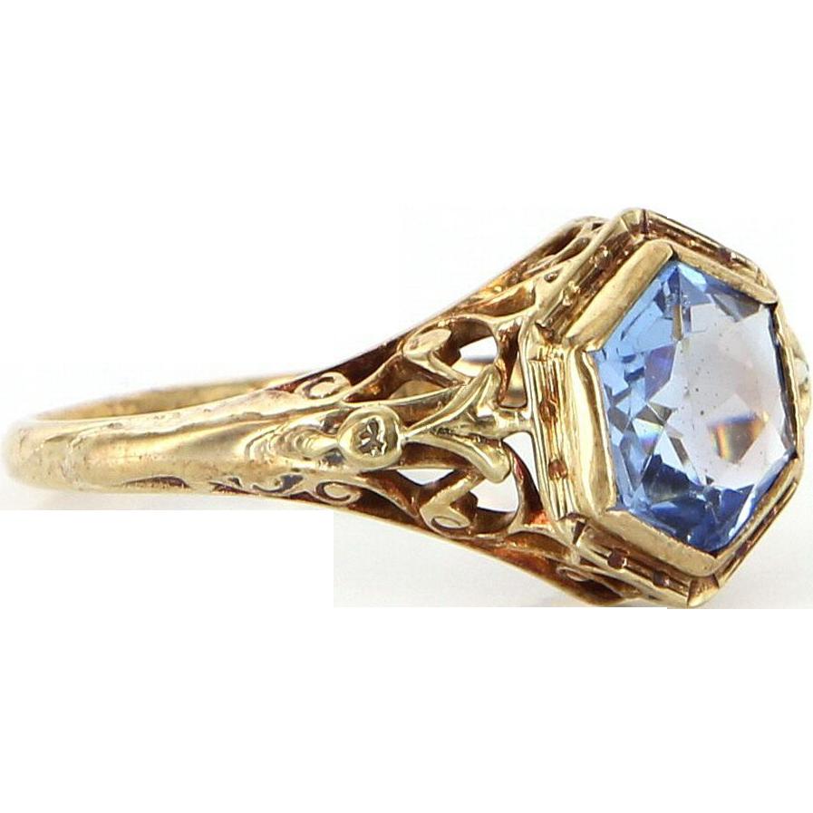 Art Deco 10k Yellow Gold Blue Glass Filigree Ring Estate Vintage Jewelry