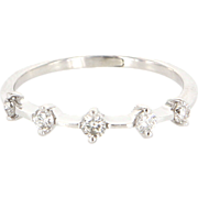 Vintage 14 Karat White Gold Diamond Stack Band Ring Fine Estate Jewelry Sz 5.25