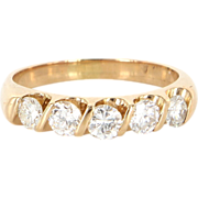 Vintage 14 Karat Yellow Gold Diamond Wedding Stack Band Ring Estate Jewelry Sz 6