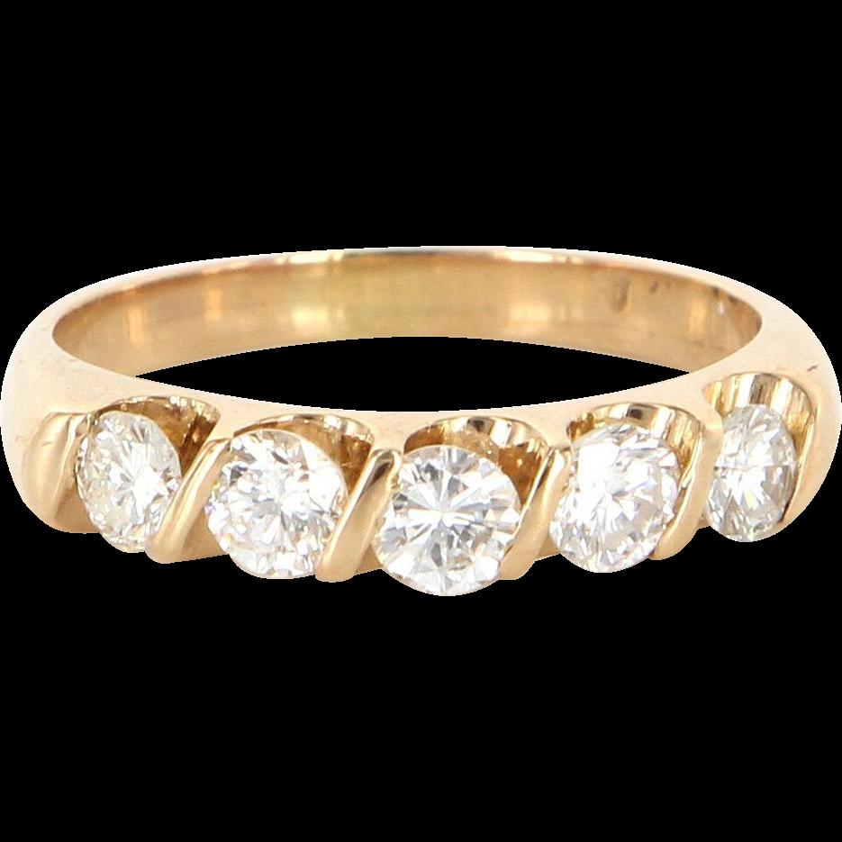 Vintage 14 Karat Yellow Gold Diamond Wedding Stack Band Ring Estate Jewelry Sz 6