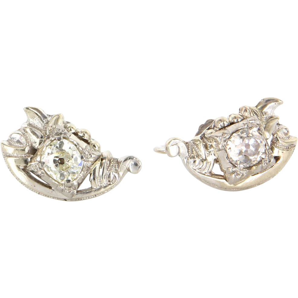 Vintage Art Deco 10 Karat White Gold Diamond Small Cocktail Screw Back Earrings Estate Jewelry