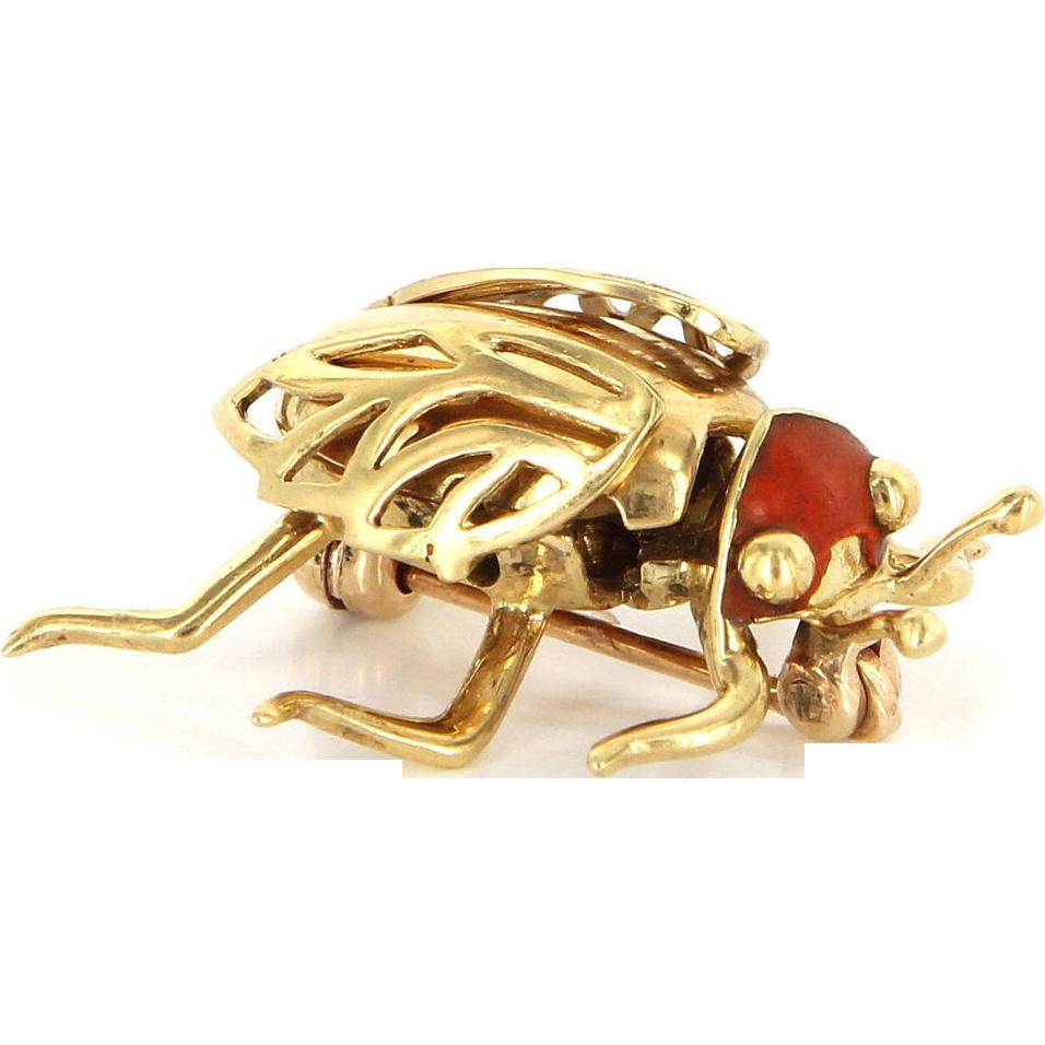 Vintage 14 Karat Yellow Gold Enamel Beetle Bug Insect Brooch Pin Estate Jewelry