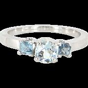 Vintage 14 Karat White Gold Blue Topaz Three Stone Trilogy Ring Estate Jewelry