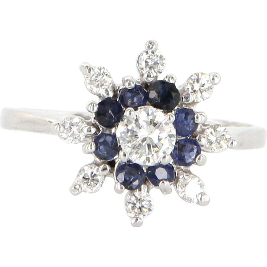 Vintage 14 Karat White Gold Diamond Sapphire Cocktail Cluster Ring Estate Jewelry