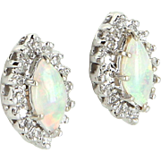 Marquise Opal Diamond Stud Earrings Vintage 14 Karat White Gold Estate Fine Jewelry