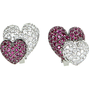 Double Heart Ruby Diamond Earrings Vintage 18 Karat White Gold Estate Fine Jewelry