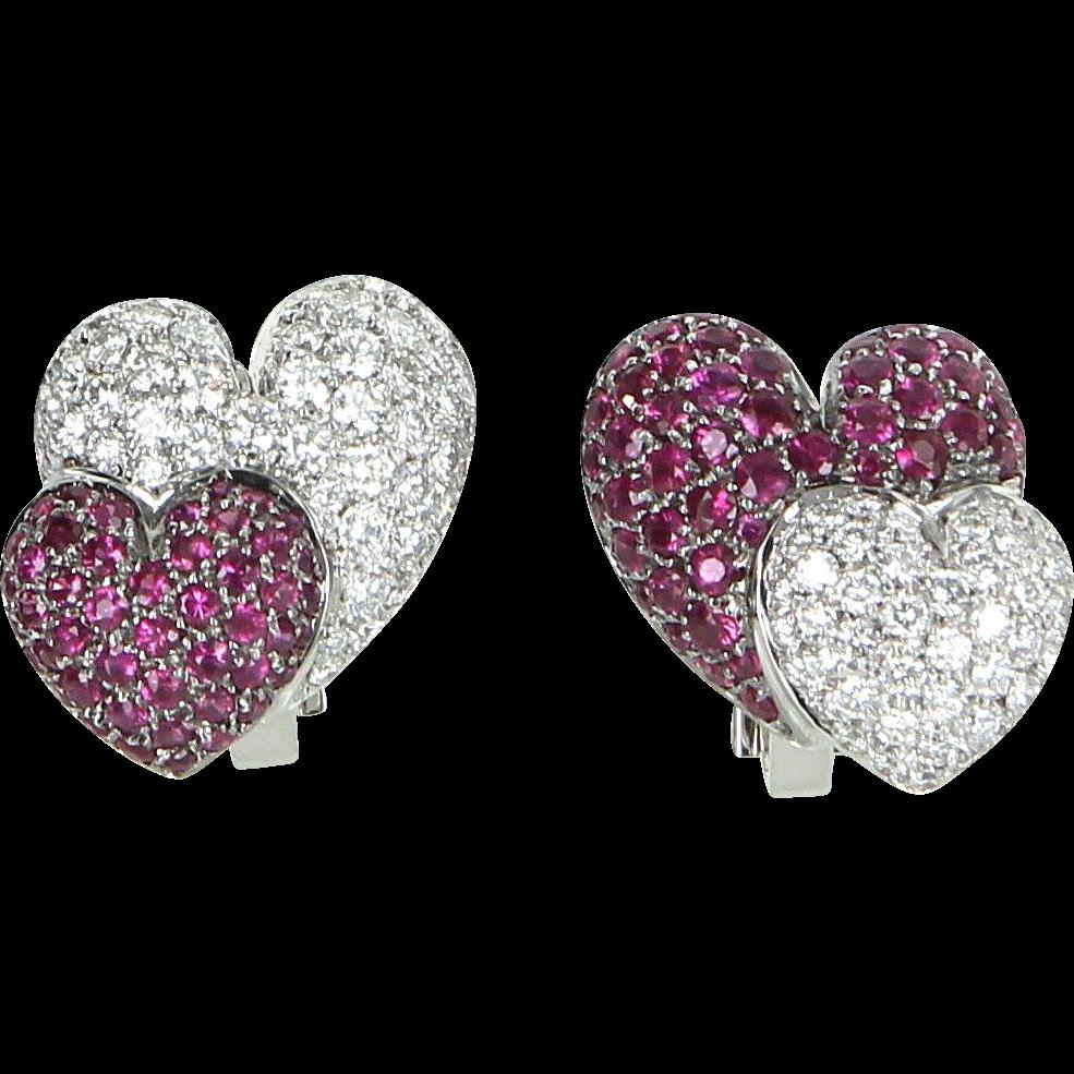 Double Heart Ruby Diamond Earrings Vintage 18 Karat White Gold Estate Fine Jewelry