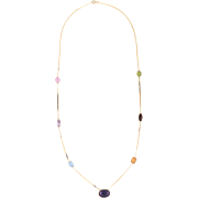 Rainbow Gemstone Necklace Vintage 14 Karat Yellow Gold Estate Fine Jewelry Pre Owned