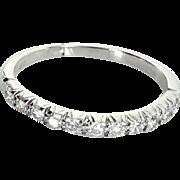 Vintage Diamond Wedding Band Ring 18 Karat White Gold Estate Fine Jewelry Sz 7