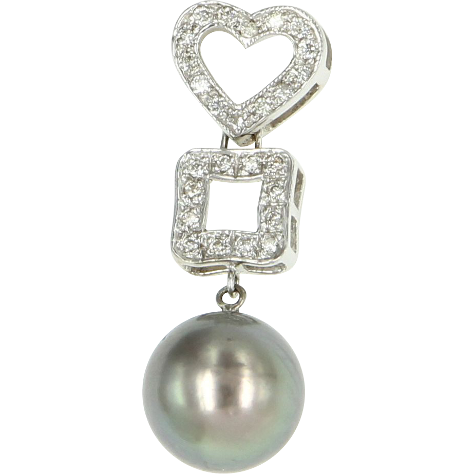 Vintage 14 Karat White Gold Diamond Cultured Black Tahitian South Sea Pearl Heart Pendant