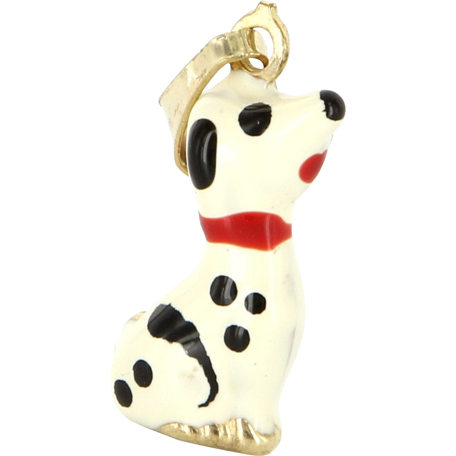Vintage 14 Karat Yellow Gold Enamel Dalmatian Dog Small Pendant Charm Estate Jewelry