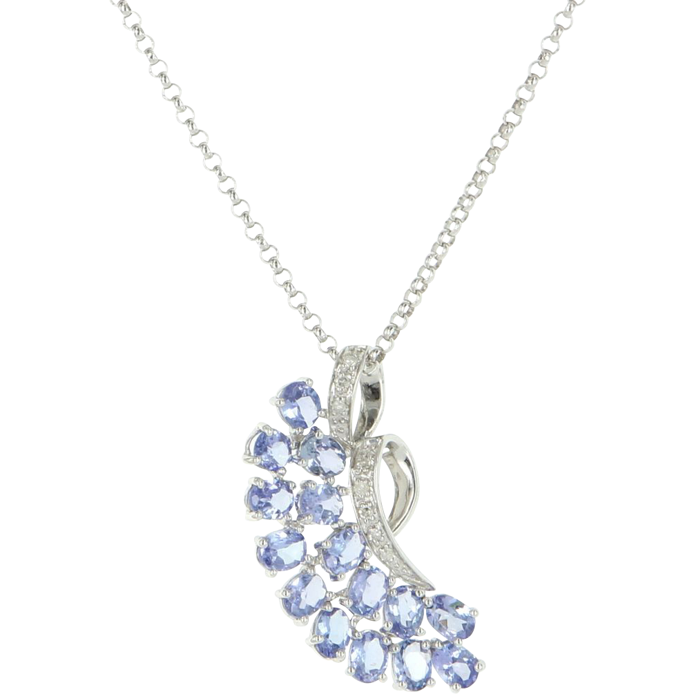 Vintage 14 Karat White Gold Diamond Tanzanite Pendant Necklace Estate Jewelry