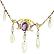 Art Nouveau 14 Karat Yellow Gold Amethyst Sawtooth Pearl Enamel Drop Necklace Vintage Estate Jewelry