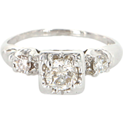 Vintage 14 Karat White Gold Diamond Engagement Right Hand Ring Estate Jewelry