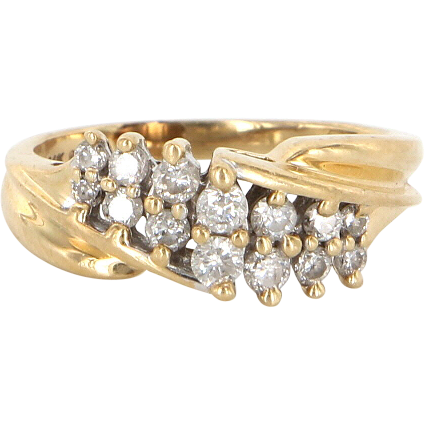 Vintage 14 Karat Yellow Gold Diamond Cocktail Right Hand Ring Estate Jewelry