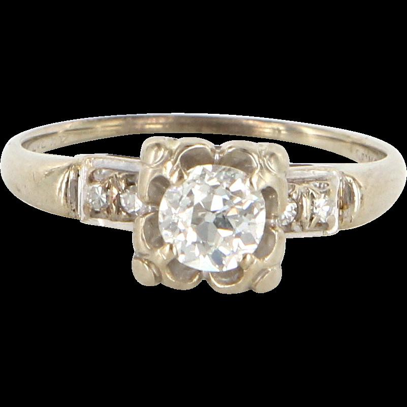 Art Deco 14 Karat White Gold Diamond Engagement Right Hand Ring Estate Bridal Jewelry