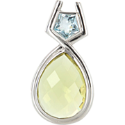 Vintage 14 Karat White Gold Lemon Quartz Blue Topaz Large Cocktail Pendant Estate Jewelry
